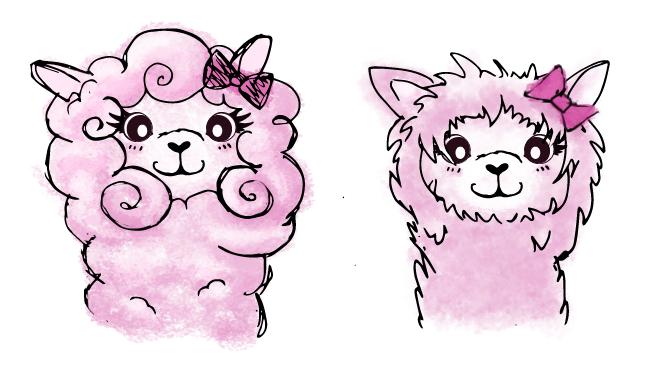 Drawings of a pink alpaca