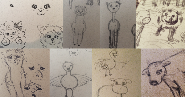 Sketches of farm animals