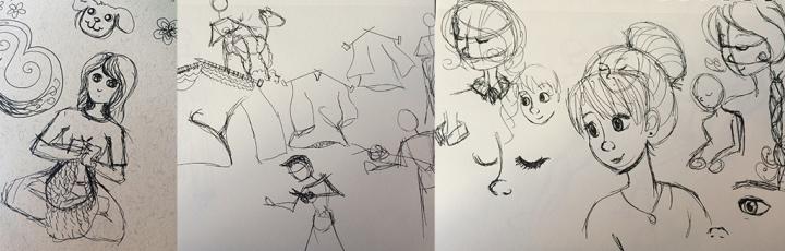 Sketches of knitting and shearing