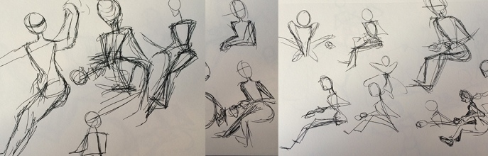 Loose sketches of someone spinning yarn
